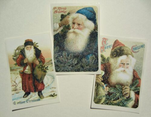 Set of 20 Vintage SANTA Christmas STICKERS Victorian Primitive, Shabby Chic, ATC