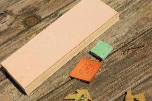 """Leather Strop 2 Sided 3.5""""x10""""  Sharpen Tool Knives Razor WITH Green Compound"""