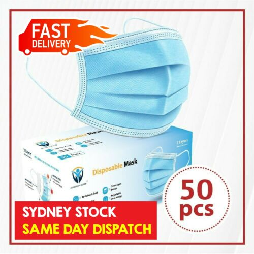 50Pcs Disposable Face Mask Protective Masks 3 layer Meltblown Filter General Use <br/> SYD STOCK/Same Day Dispatch/BFE ≥ 98%/CE Certified