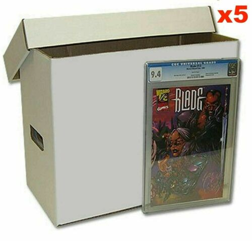 5 x Long Cardboard Comic Storage Box with Lid - Holds up to 1750 Comic Books