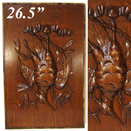 "Antique Victorian Black Forest Style 26.5"" Furniture or Cabinet Panel, Plaque"