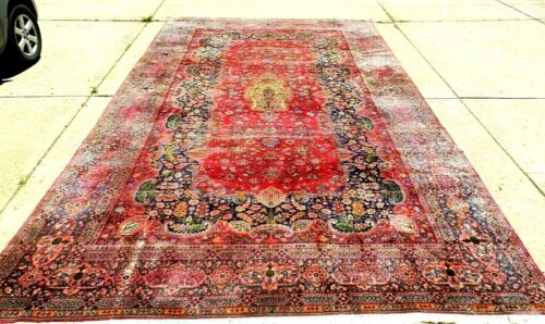 "BEAUTIFUL SPECIAL INTERESTING ANTIQUE ORIENTAL RUG LARGE SIZE 10' 6"" x 19' 2"""