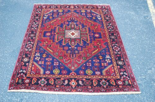 "C1930s ANTIQUE DETAILED COLORFUL DESIGN PRSIAN GHOLTOGH RUG 4' 2"" X 6'"