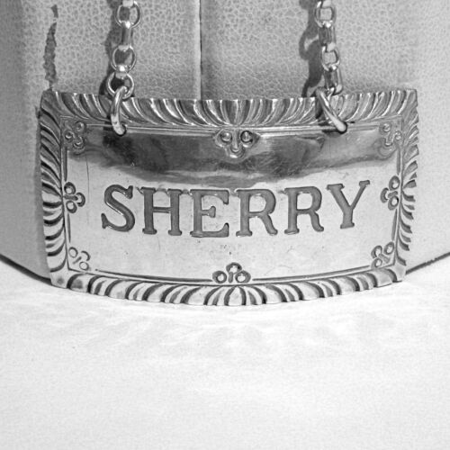 STIEFF STERLING COLONIAL WILLIAMSBURG DECANTER LABEL ~ SHERRY ~ NO MONO