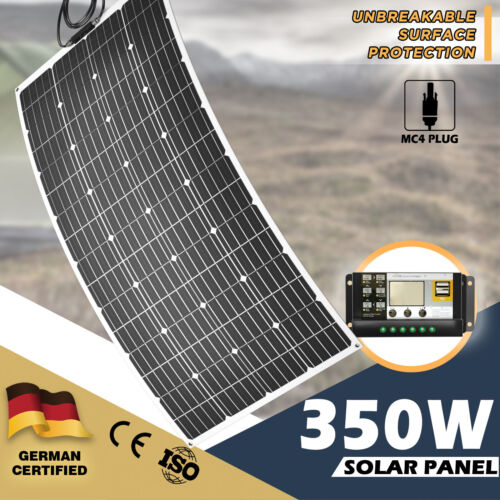 350W 12V Flexible Solar Panel Kit Mono Waterproof 20A Controller Power Battery