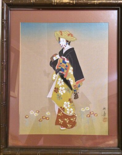 "ANTIQUE 19C JAPANESE WATERCOLOR PAINTING ON SILK""WOMAN IN KIMONO""FRAMED W. GLASS"