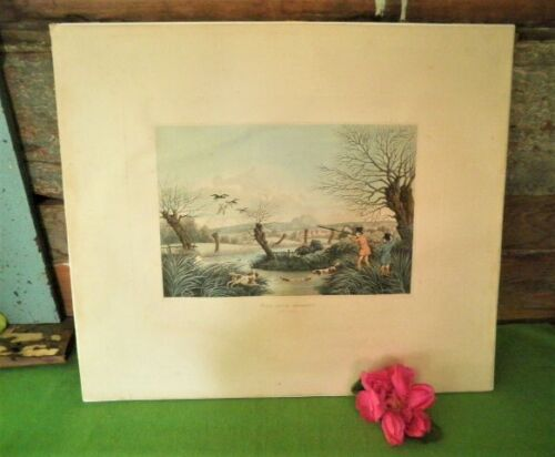 ANTIQUE ETCHING PRINT WILD DUCK SHOOTING NEAR COWLEY R.HAVELL JUN 1800'S HUNTING