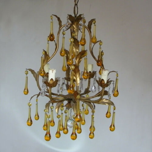 ANTIQUE ITALIAN GILT TOLE AMBER GLASS DROPS CAGE CHANDELIER CEILING LIGHT 4 ARMS