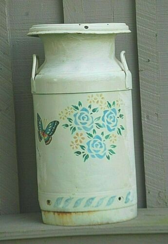 Old Vintage Rustic Primitive Dairy Farm Milk Cream Can Metal Container Butterfly
