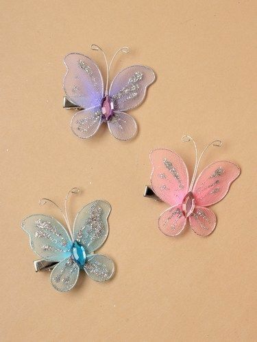 3Pcs Super Fairy Ricamo Butterfly Forcina Cristallo Rete Filo Capelli Clip UK