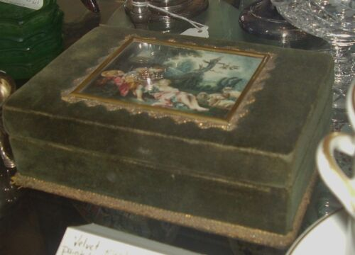 c1900 Victorian style Art Watercolor Painting Green Velvet JEWELRY TRINKET BOX