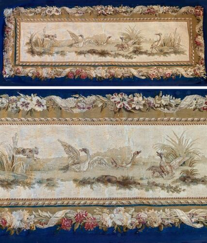 """Antique French 65"""" x 27"""" Tapestry, Aubusson or Beauvais, Dog & Waterfowl, c.1770"""