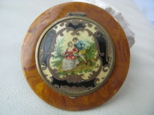 Antique Victorian Celluloid Faux Burl Wood Lovers Couple Nice Wool Puff Compact