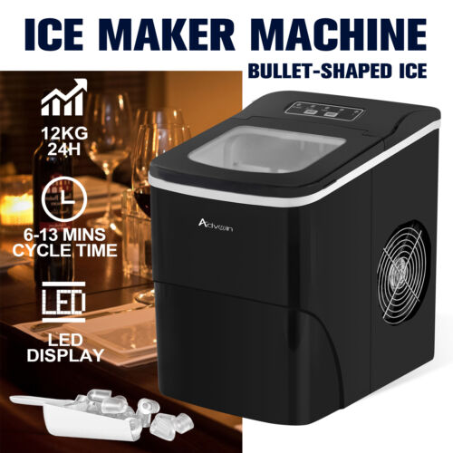 Ice Maker Machine 2.2L Portable Commercial Ice Cube Tray Bar Countertop Black <br/> 12kg/Day✔9 Ice Cubes✔2 Ice Sizes✔LED✔Bullet-shaped ice✔