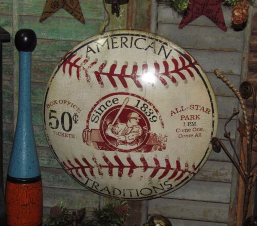 Primitive Antique Vtg Style 1839 American Baseball Round Dome Metal Tin Sign