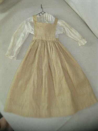 ANTIQUE EARLY BROWN CHECK HOMESPUN DOLL DRESS primitive