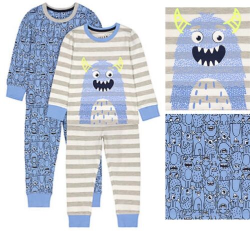 BNWT Mothercare Boys Kids 2 Pack Grey Blue Monster Aliens Cotton Pyjamas Pjs New