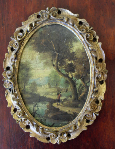 Antique Painting Landscape Print Made Italy? Oval Ornate Frame Gold