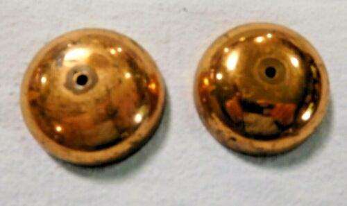 Antique ~Salvage ~Pair Brass Plated Telephone Bells w/ a copper flashing  1812