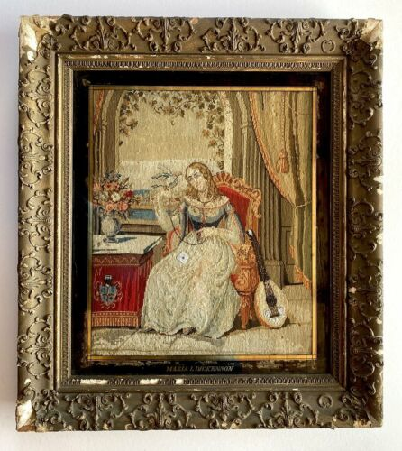 Victorian Era English Needlepoint, Petitpoint, Girl with Parrot & Lute, Signed