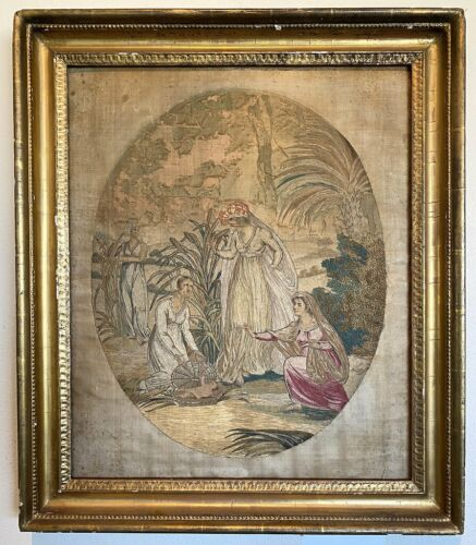 """Antique French Silk Embroidery in c.1820 Frame, 28"""" x 24"""" Silk work: Baby Moses"""