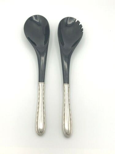 """Silver Flutes by Towle Sterling Silver 2 piece Salad Set, Black Bowls 12"""""""