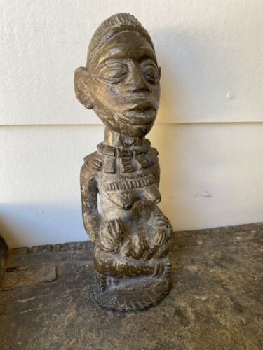 Old African Solid Bronze Statue Female With Child Fertility