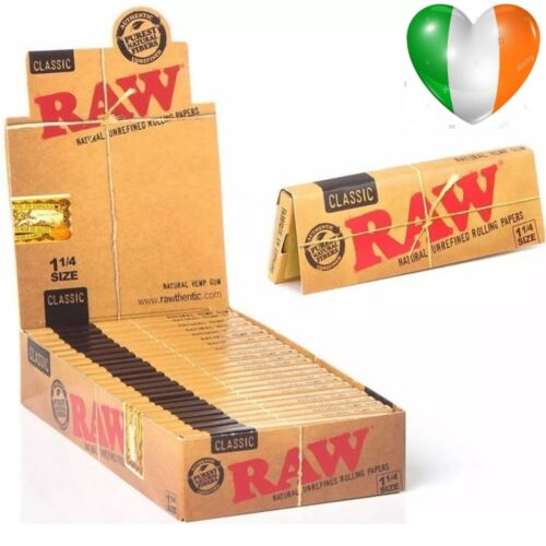RAW ORGANIC / CLASSIC 1&1/4 Size Rolling Papers 50 Leaves / Booklet 78mm  & Tips