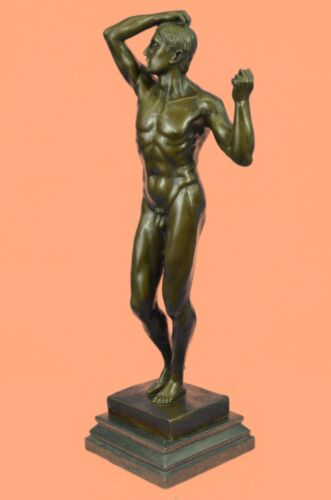 """18""""Tall Nude Male Man by Rodin Bronze Sculpture Marble Base Figurine Figure DEAL"""