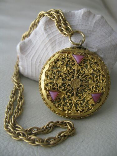 Antique Gold Tone Floral Filigree Pink Faux Opal Jewel Dance Pill Box Compact