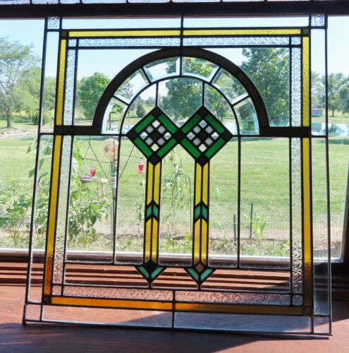 ANTIQUE ARTS AND CRAFTS STAINED/ BEVELED GLASS  GLASS WINDOW - ca. 1920