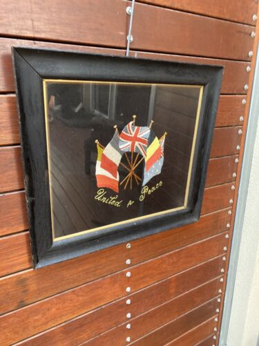 Large Framed Embroidered Patriotic Silk Allied Flags Including Australia WWI