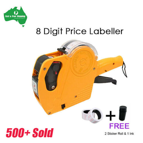 Price Tag Gun Labeller Pricing Machine Kit with 2 Rolls Labels and Inks Roller