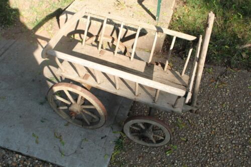 Antique Wood Wagon Carriage Cart Hand Made Country Primitive Newspaper Grocery