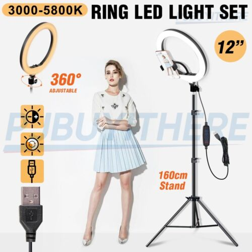 """12"""" LED Ring Light Dimmable Lighting Phone Selfie Tripod Stand Makeup Live Lamp"""