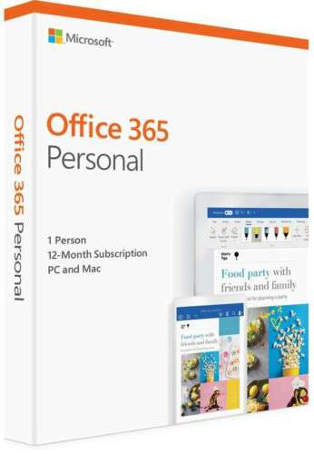 Microsoft 365 Personal 1 Year Subscription Medialess 1 User