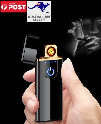 Rechargeable Windproof Flameless Electronic Cigarette Metal Lighter USB AU