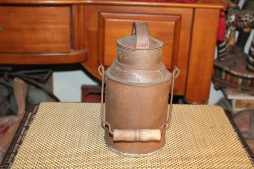 Antique Primitive Metal Milk Can With Wood Handle Small Size Antique Thermos