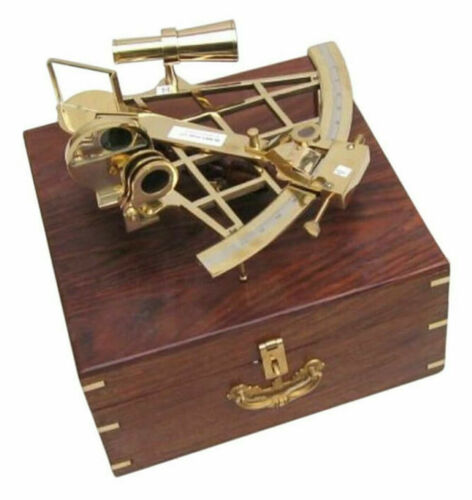 "Large Brass Sextant 10"" w/ Wooden Case Nautical Maritime Astrolabe Ship Decor"