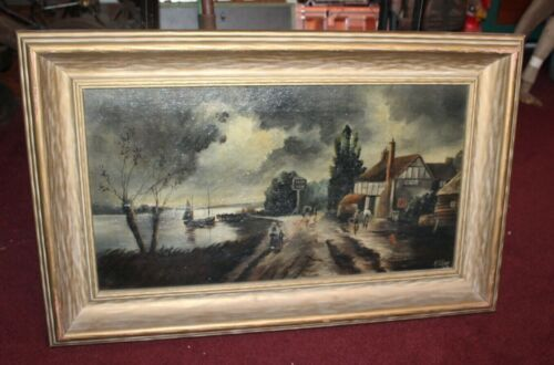Antique Oil Painting On Canvas Old Fishing Town Cloudy Sky Signed A GILES 1929