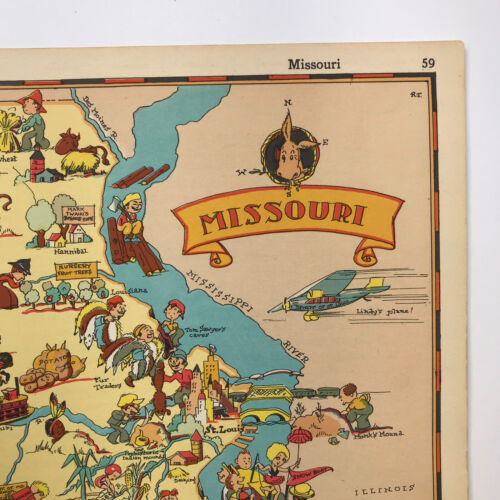 Ruth Taylor VINTAGE ORIGINAL Cartoon Map of MISSOURI 1935 Litho CHIEFS Cardinals