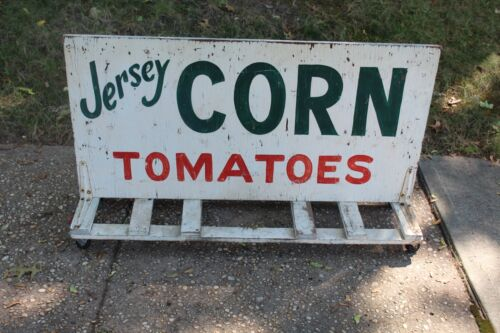 LARGE Antique New Jersey NJ Hand Painted Wood Farm Sign Jersey Corn Tomatoes