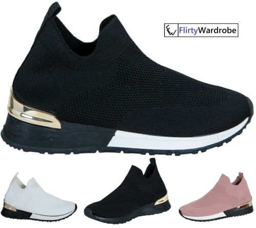 Sock Wedge Trainers Sneakers Slip On Classic Jogging Pumps Shoes Womens Ladies