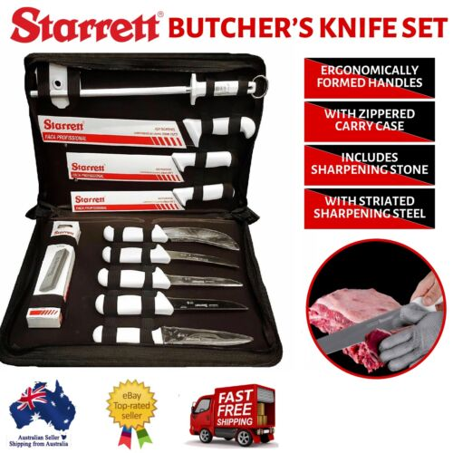 Starrett Professional Butchers Knife Set In Case 11 Piece - BKK-11W Camping BBQ <br/> Aussie Seller * Free Shipping * BBQ * Camping * Knives