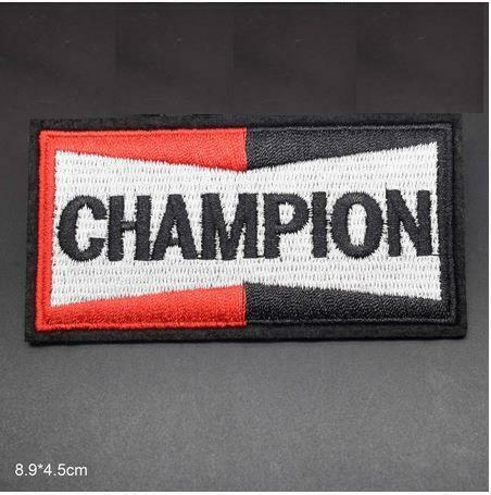 CHAMPION SPARK PLUGS IRON ON SEW ON EMBROIDERED PATCH CAR RACING VEST