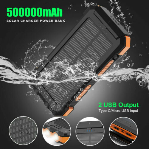 500000mAh Solar Power Bank 2USB External Battery Charger Portable Fast Charging