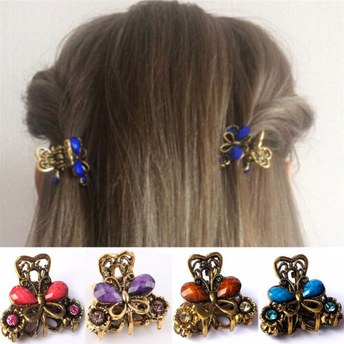 Retro Women Girls Mini Butterfly Hair Clip Resin Hairpins Claw Jewelry WFZ1