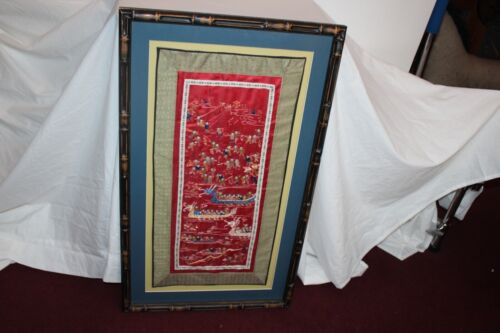 Framed Chinese Embroidery Tapestry Boys Water Dragon Boats Large Fabric Tapestry