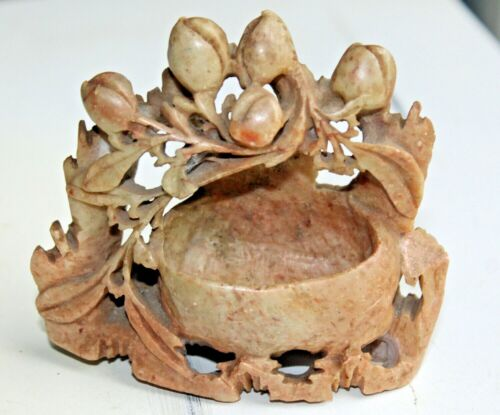 Hand Carved Soapstone Sculpture Intricate Nest with Flowers Asian