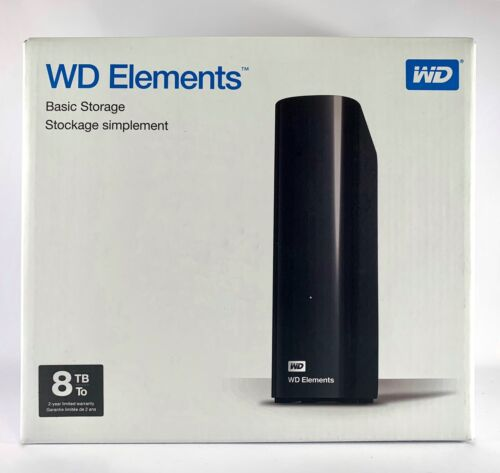 WD ELEMENTS Western Digital 8TB Desktop External Hard Drive HDD USB 3.0